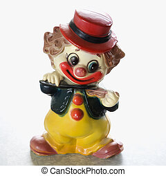 vendange, clown, figurine.