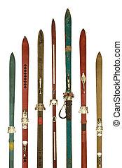 vendange, coloré, utilisé, skis, isolé, blanc