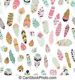 vendange, coloré, vibrant, tribal, plumes, seamless, boho, ethnique, modèle