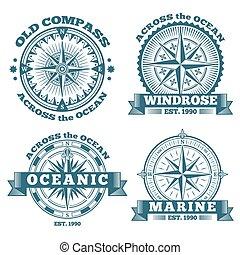 vendange, compas, étiquettes, insignes, nautique, emblèmes, rubans, logo