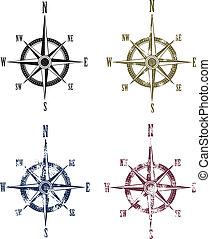vendange, compas, grunge, rose