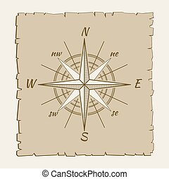 vendange, compas, marin, parchemin, brun