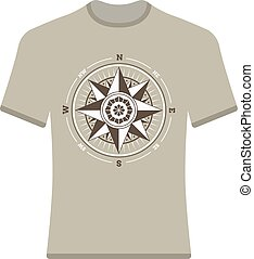 vendange, compas, t-shirt., rose