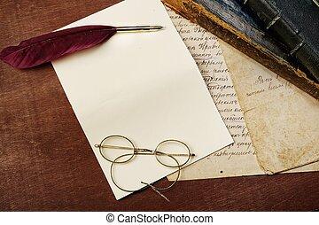 vendange, concept, lettre
