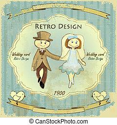 vendange, conception, carte, mariage