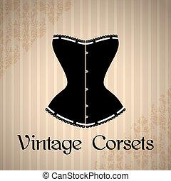 vendange, corset, fond