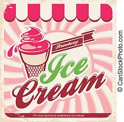 vendange, crème, glace, affiche