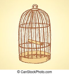 vendange, croquis, cage, style, oiseau
