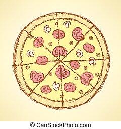 vendange, croquis, savoureux, style, pizza
