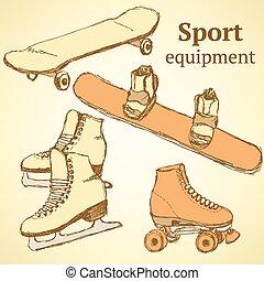 vendange, croquis, sport, style, équipement