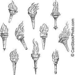 vendange, croquis, style, brûlé, torches
