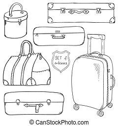 vendange, croquis, vecteur, collection, suitcases.
