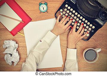 vendange, dactylographie, machine écrire, mains