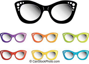 vendange, dames, oeil, eyewear, chat
