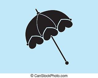 vendange, dames, vecteur, parasol
