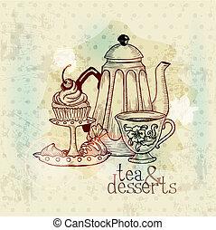 vendange, -, desserts, vecteur, menu, thé, carte