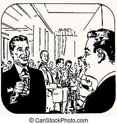 vendange, dessin animé, cocktail, retro