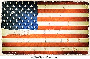vendange, drapeau américain, fond, affiche