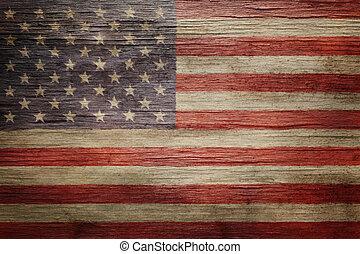 vendange, drapeau américain, fond, porté