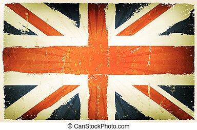 vendange, drapeau, anglaise, fond, affiche