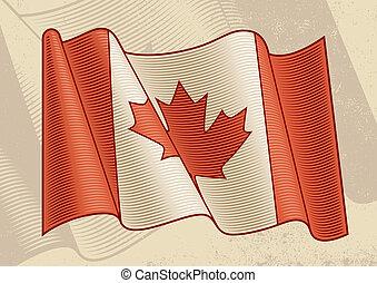 vendange, drapeau, canadien