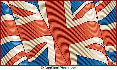 vendange, drapeau, (close-up), britannique