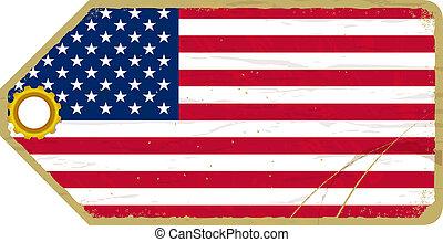 vendange, drapeau, usa, étiquette