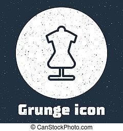 vendange, drawing., vecteur, monochrome, ligne, icône, isolé, dummy., grunge, gris, mannequin, tailleur, arrière-plan.