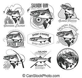 vendange, emblèmes, saumon, peche