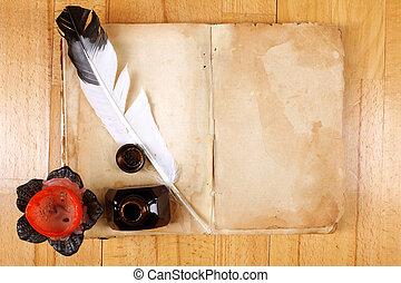 vendange, encrier, livre, stylo, bougie, table, message, ouvert, plume, vide