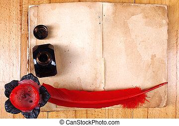 vendange, encrier, livre, stylo, vide, bougie, table, message, ouvert, plume, rouges