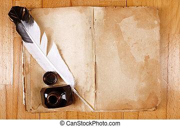 vendange, encrier, stylo, livre, table, message, ouvert, plume, vide