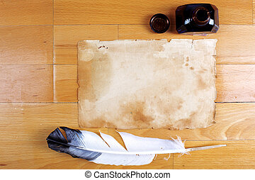 vendange, encrier, stylo, papier, table, plume