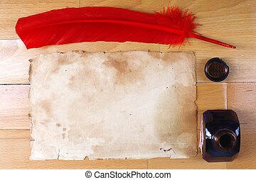 vendange, encrier, stylo, papier, table, plume, rouges