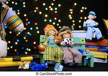 vendange, enfants, collection, jouets