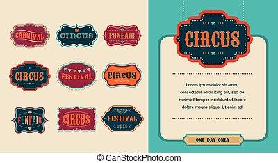 vendange, ensemble, étiquettes, cirque