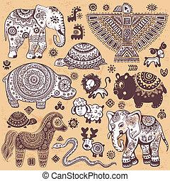 vendange, ensemble, animaux, ethnique