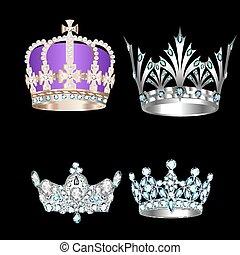 vendange, ensemble, arrière-plan noir, couronnes