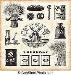 vendange, ensemble, céréale
