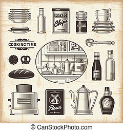 vendange, ensemble, cuisine
