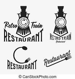 vendange, ensemble, de, retro, train, restaurant