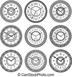 vendange, ensemble, isolate., images, symboles, vecteur, clocks., temps, monochrome