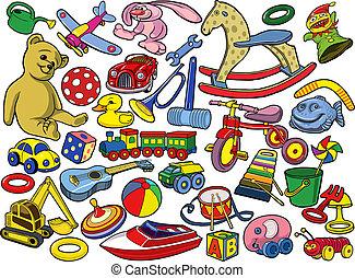 vendange, ensemble, jouets