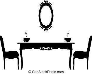vendange, ensemble, meubles