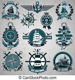 vendange, ensemble, nautica, étiquette