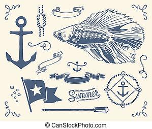 vendange, ensemble, nautique