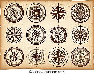 vendange, ensemble, nautique, compas, icônes