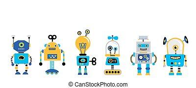 vendange, ensemble, robots, mignon