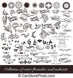 vendange, ensemble, sunbursts, grand, collection, flourishes, appelé, design.eps, ou