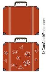 vendange, ensemble, valise